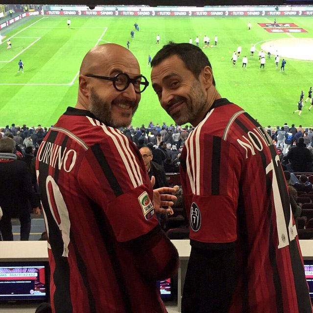 With Saturnino at the Meazza football stadium, Milan.