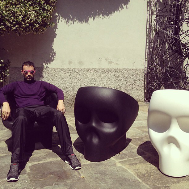 Fabio Novembre sitting on Jolly Roger armchair designed for Gufram.