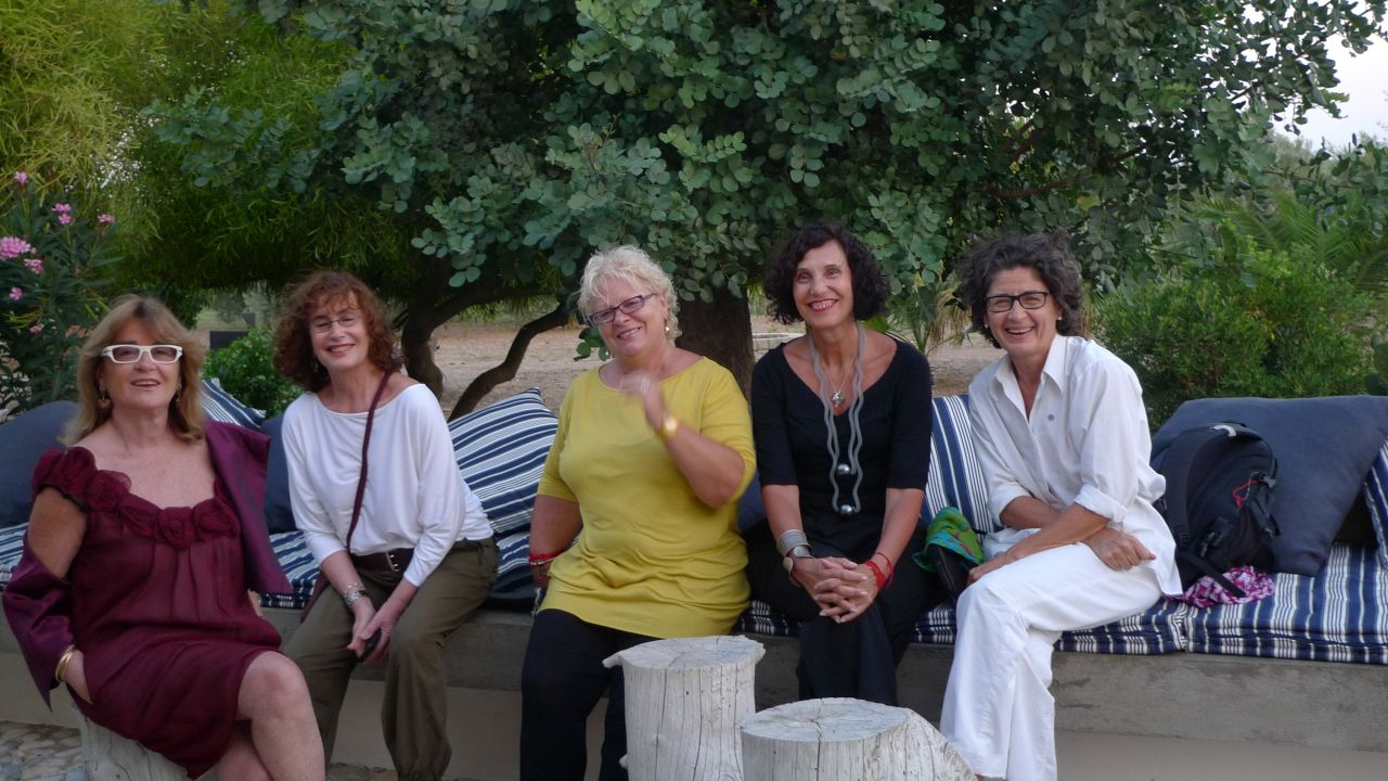 Sicilian summer with her friends: Daniela Gerini (fashion designer) Augusta Molina (ex-creative at Abitare il Tempo) Flamina Mantegazza (Brasilian artist) and Chiara Mauri (architect)