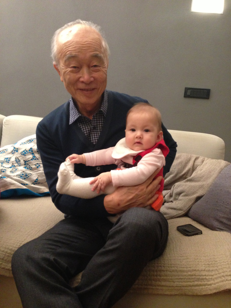 With his grandchild