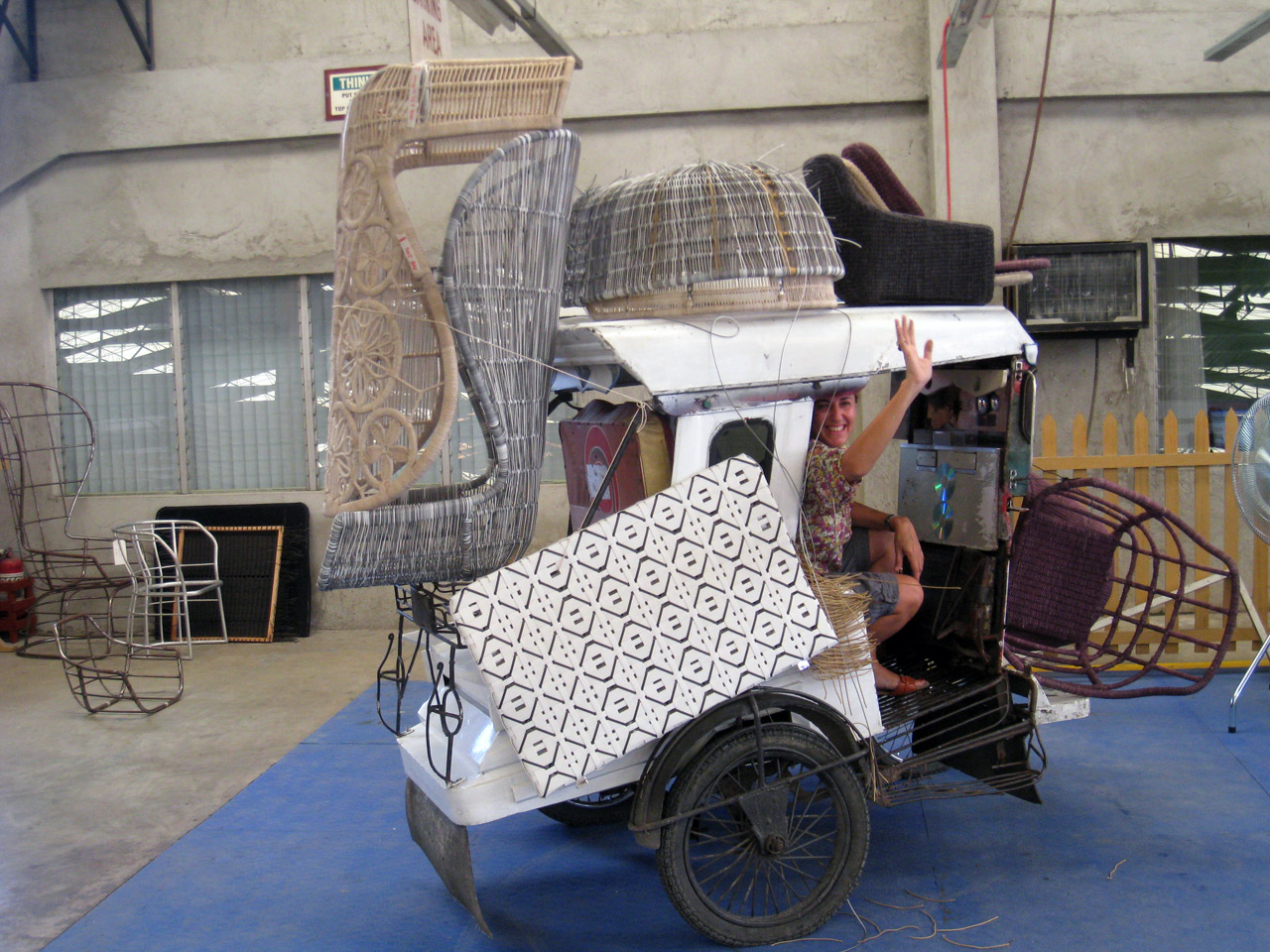 Patricia moving furniture in the Philippines, Chrinoline chair B&B Italia.