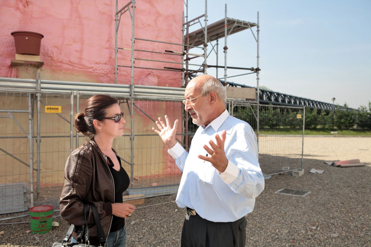 With Gaetano Pesce in the building site of the Pink Pavilion, Triennale Bovisa, 2007