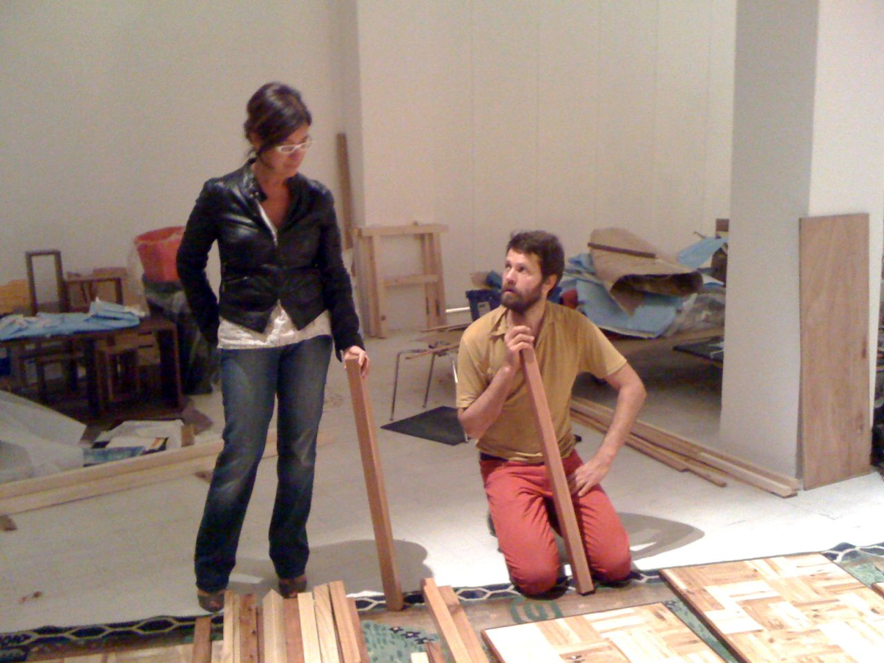 With Martino Gamper on the set of the the exhibition Stanze e Camere + 100 Chairs in 100 Days, Triennale di Milano, 2009