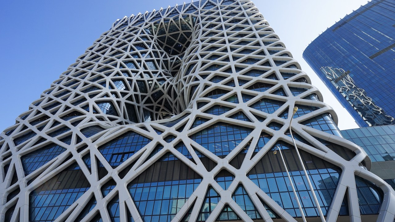 Morpheus Hotel Macau. A view of the complex external structure of the façade.