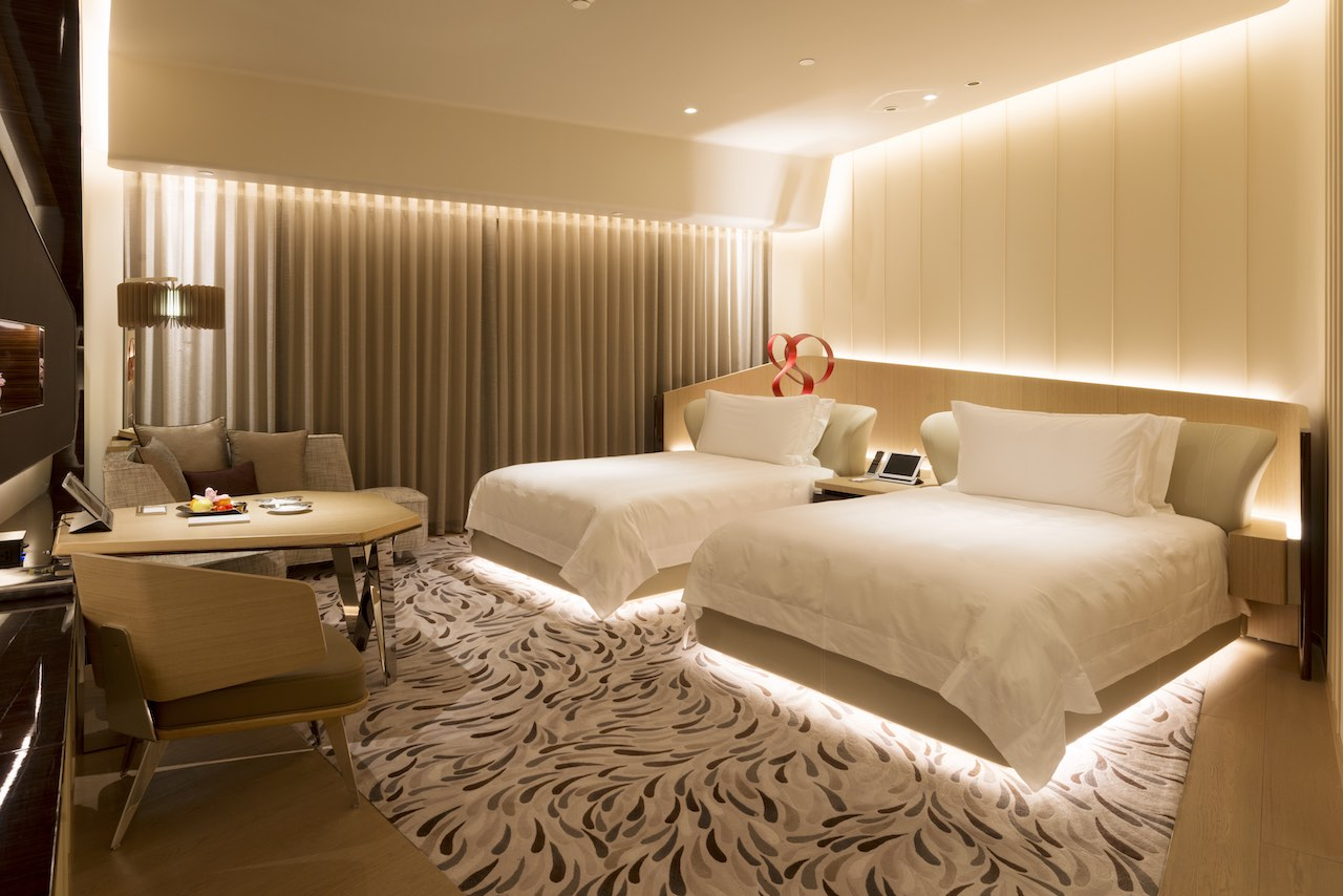 One of the luxury bedrooms of the Morpheus Hotel Macau.