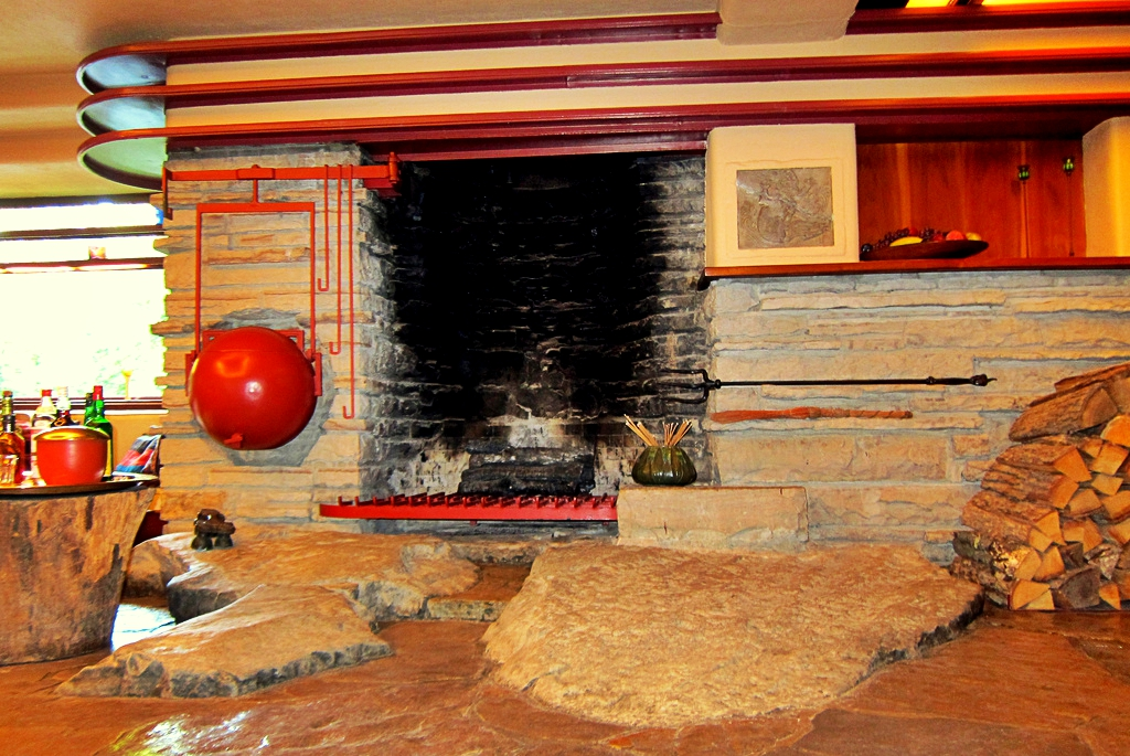 falling water fireplace