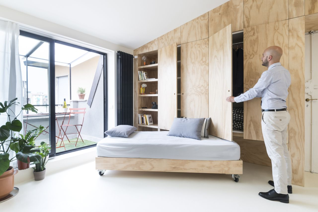 Convertible furniture: a 28 sqm studio apartment