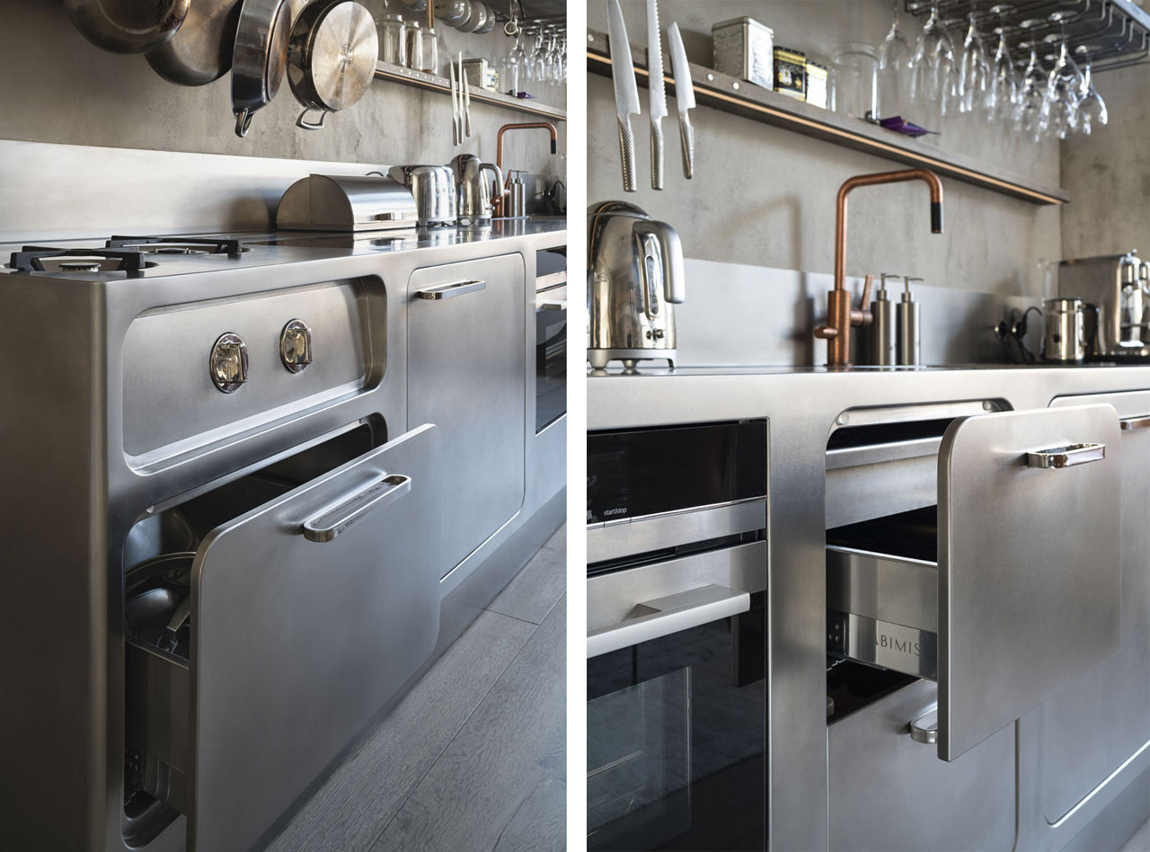 Details of the craftsmanship of the drawers of the Ego kitchen block made entirely of stainless steel.