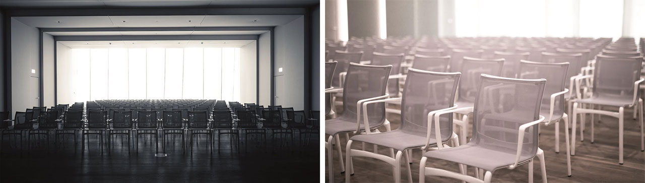 In the large auditorium, the Bigframe chairs by Alias with flame-retardant mesh backrests.