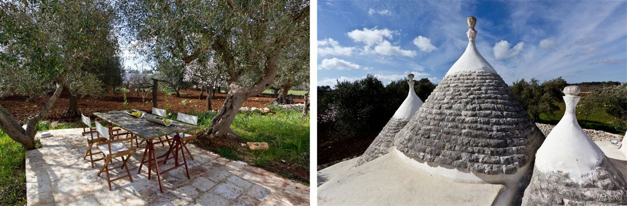 A breakfast table in the garden. Trulli, Ostuni