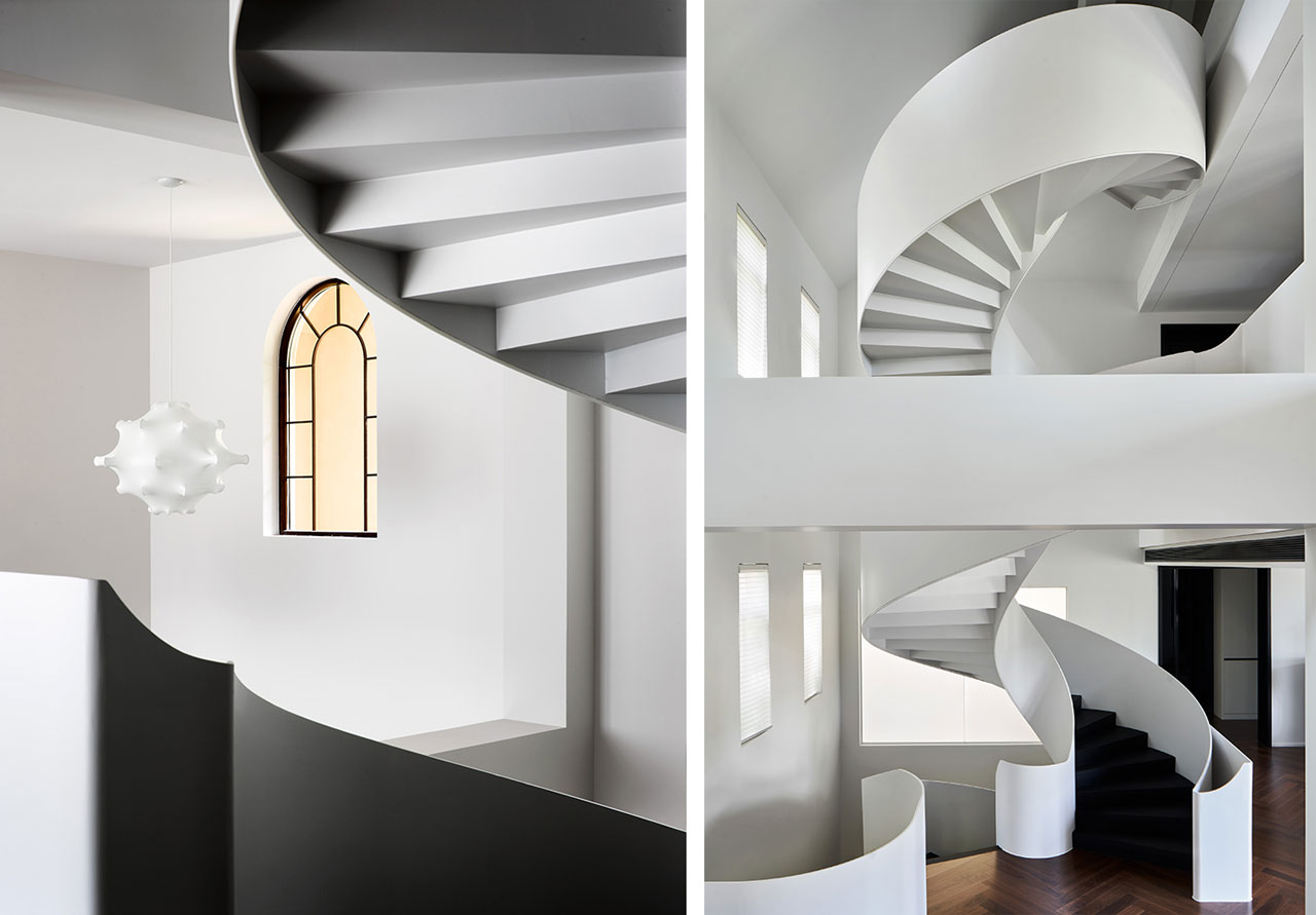 Masterful design, the spiral staircase is inserted in the space like a sculpture