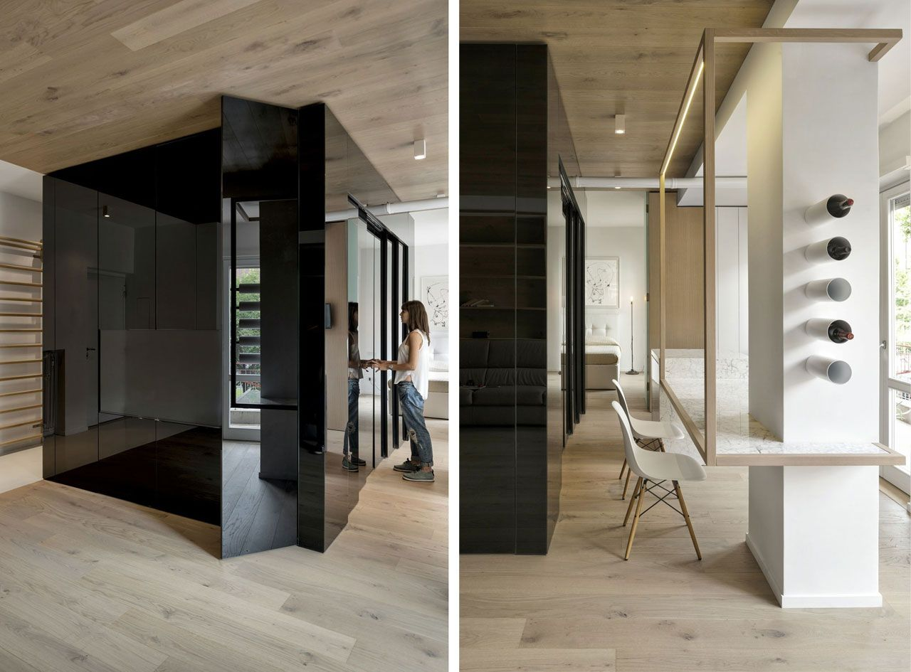 handle-less floor-to-ceiling doors with pressure openings, and shorter kitchen units with sliding fronts