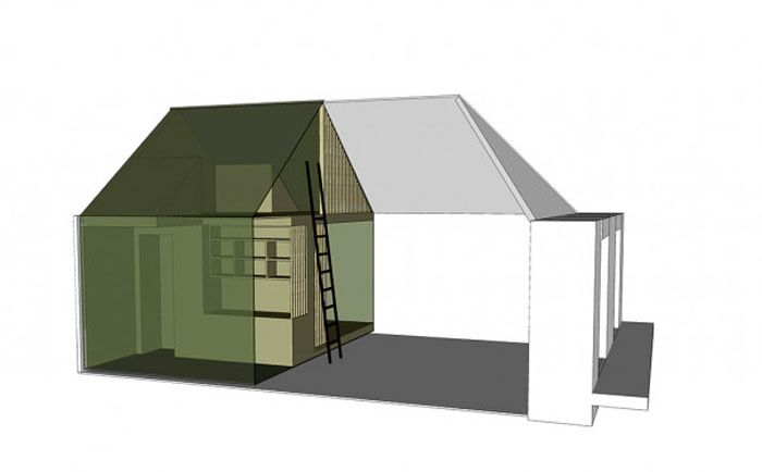 the loft split into bedrooms, bathroom and kitchen, shown in green, and living room, shown in white
