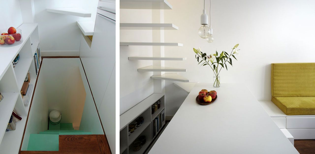 a first tiny staircase leads to the basement and a second ethereal staircase leads to the floor above