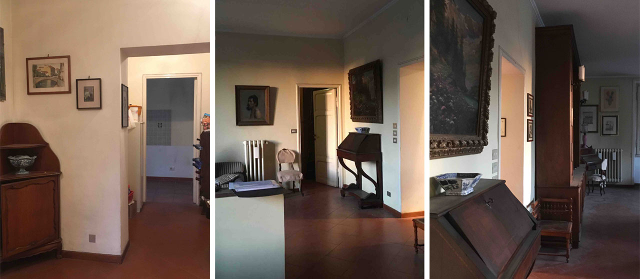 The home before the renovation. Partition walls, furniture and dark floors. Rome