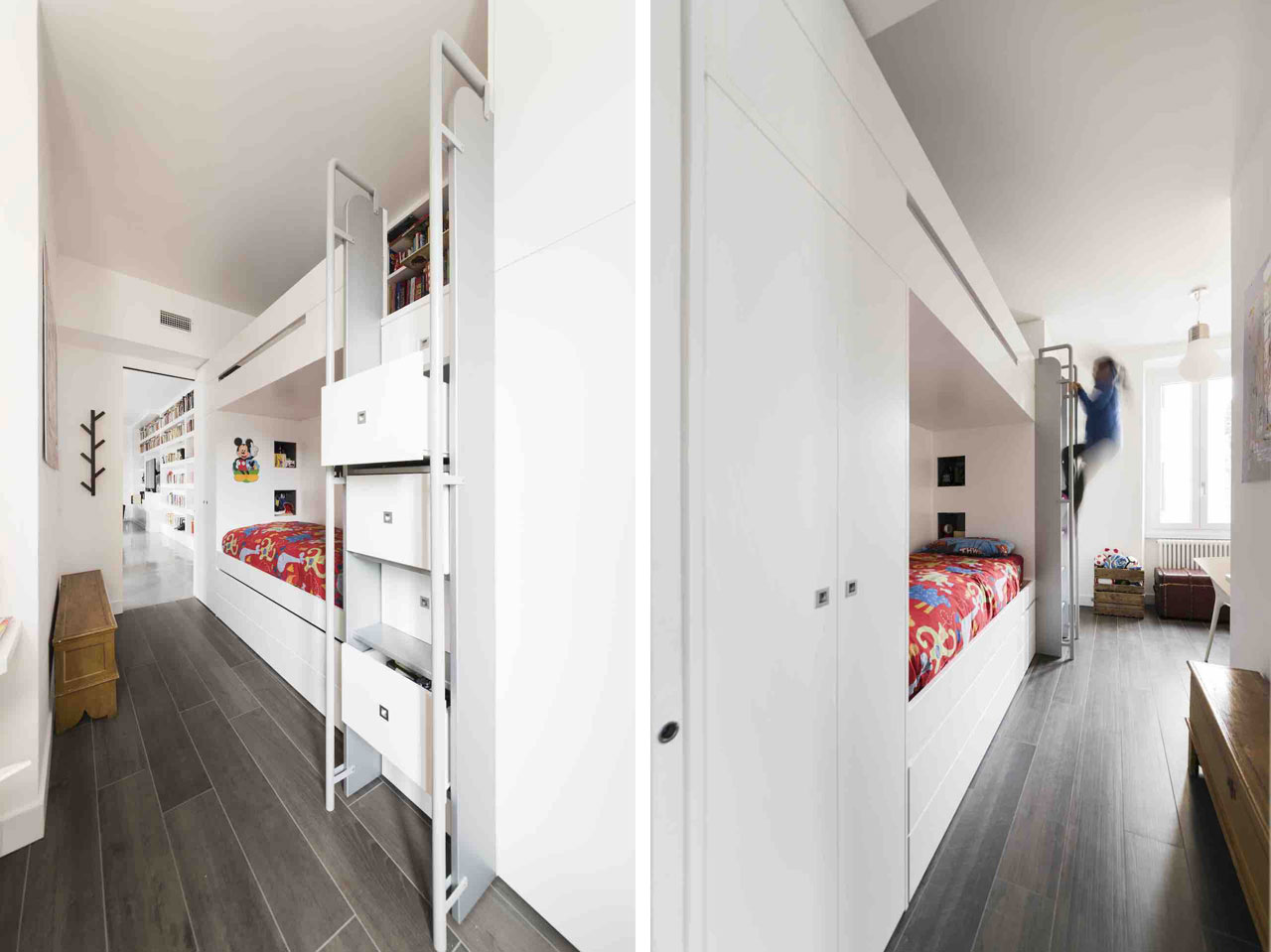 In the kids' bedroom, the block formed by the bunk beds and the built-in cupboards visually extends the bookcase in the living room