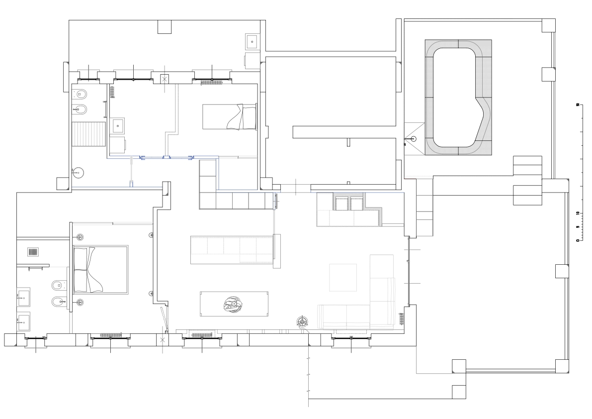 Bottom left: the master bedroom with en-suite bathroom and walk-in closet. To the left: dining room, kitchen island, living room and the large roof terrace with swimming pool.