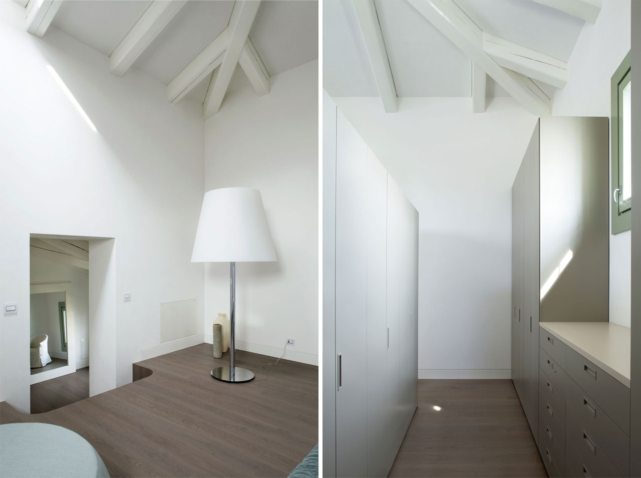 Stairs leading to the master bedroom and wardrobes behind the headboard. Photo: Courtesy Arredo Dal Pozzo
