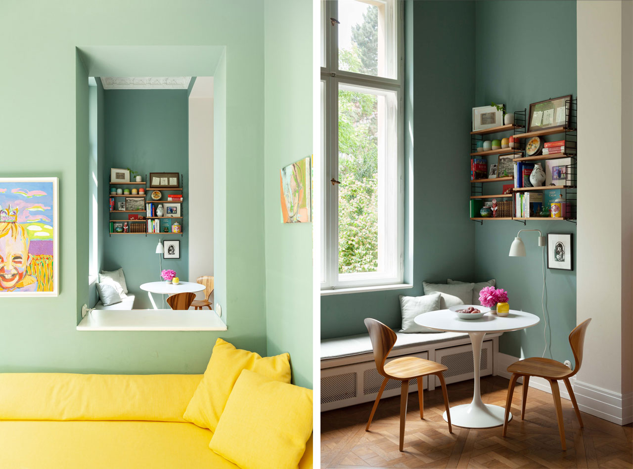 Dopo-domani, Berlino: a yellow sofa and aquamarine wall