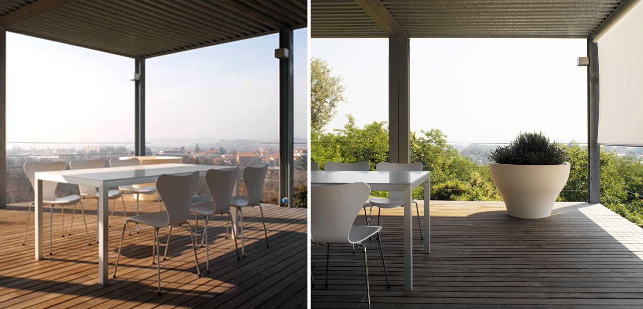 The veranda with Fritz Hansen 3107 chairs and the Serralunga vase