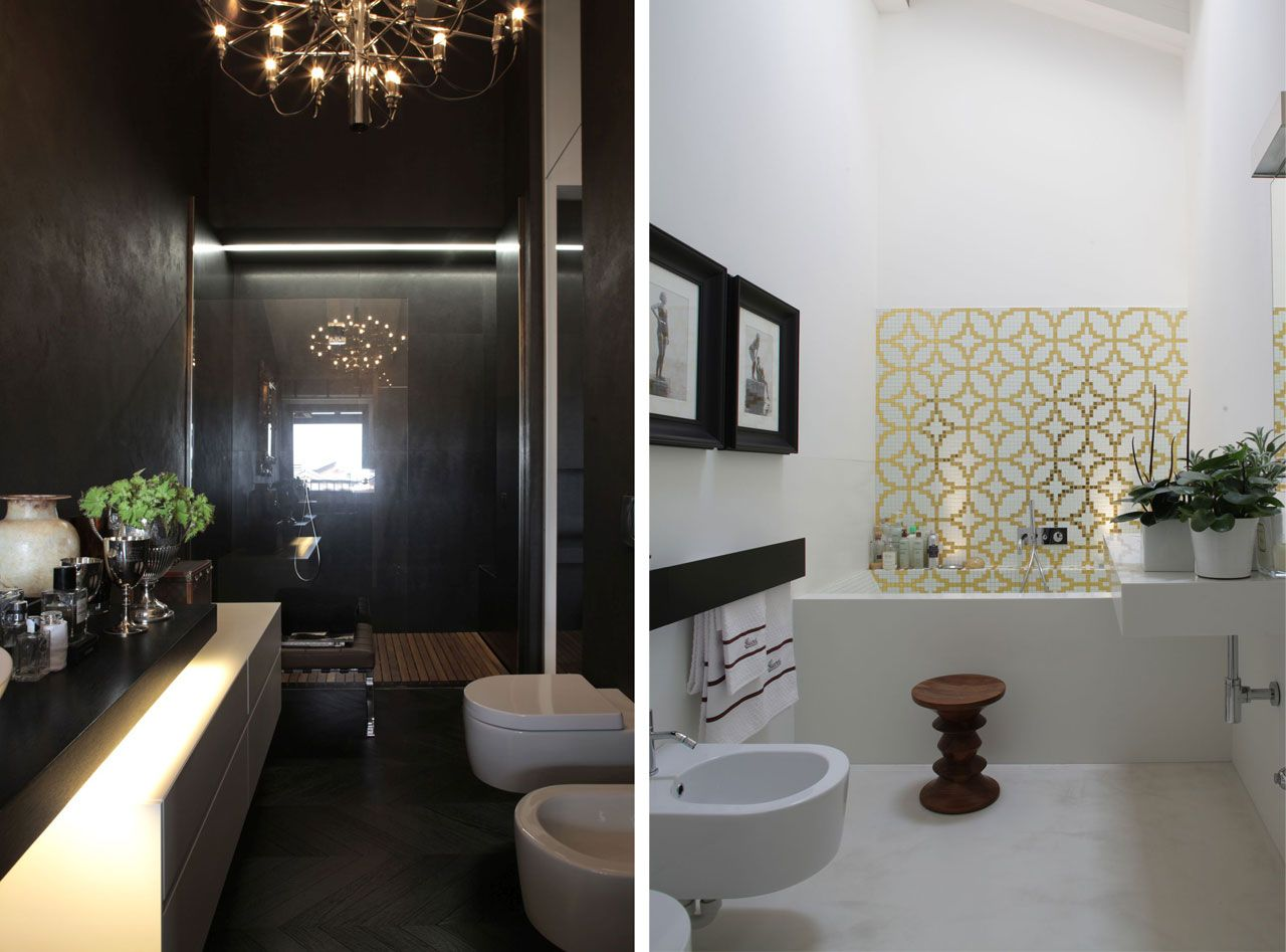 Paintings, chandeliers, plants and kinds of accessories rarely found in bathrooms