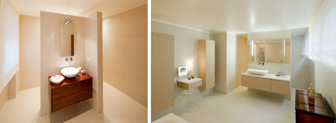 Shower and WC are concealed behind the washbasin.