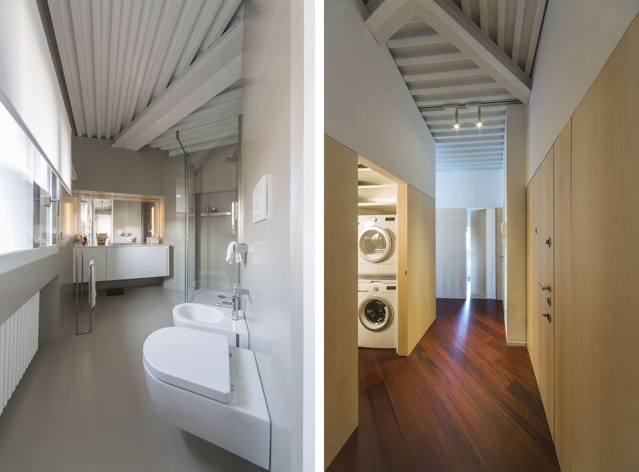 Bathroom and laundry. Attic in Bergamo, furniture by Interni