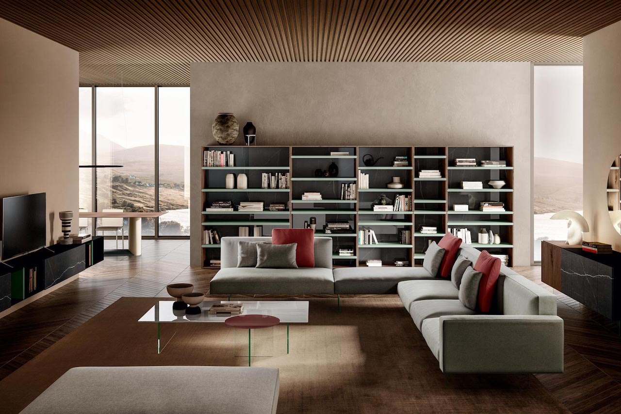 he modular system 30mm by Lago. The sofas with glass legs are part of the Air Collection