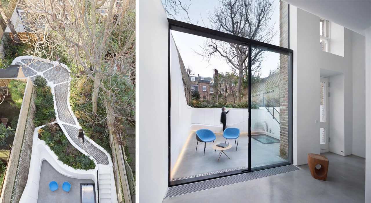 The Kensington terraced home overlooks the private courtyard