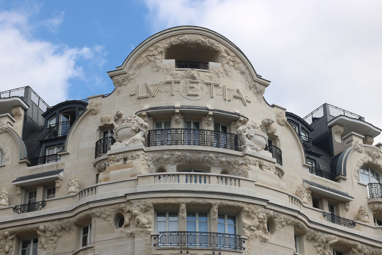 The hotel's famous façade on the corner of Boulevard Raspail and Rue de Sèvres. Hotel Lutetia, Paris