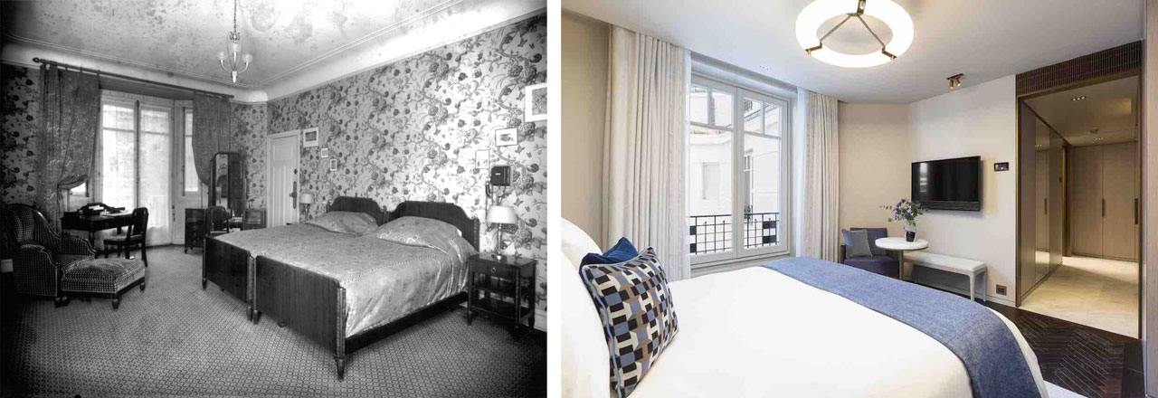 A comparison between one of the more luxurious rooms of the beginning of the twentieth century and a new one designed by Lema Contract.
