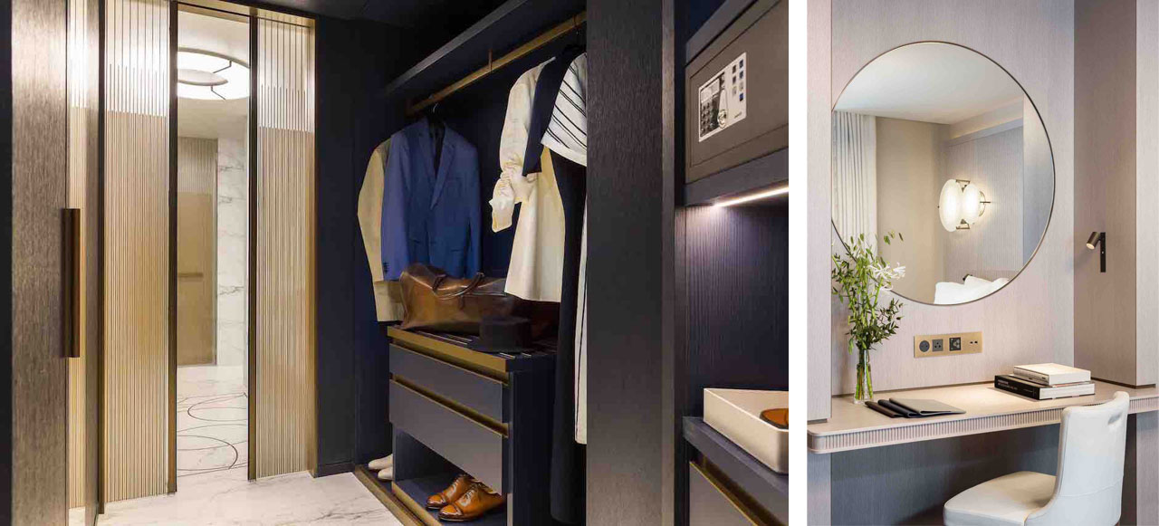 The fully-equipped walk-in closet and the dressing table/ writing desk of a suite of the hotel Lutetia.