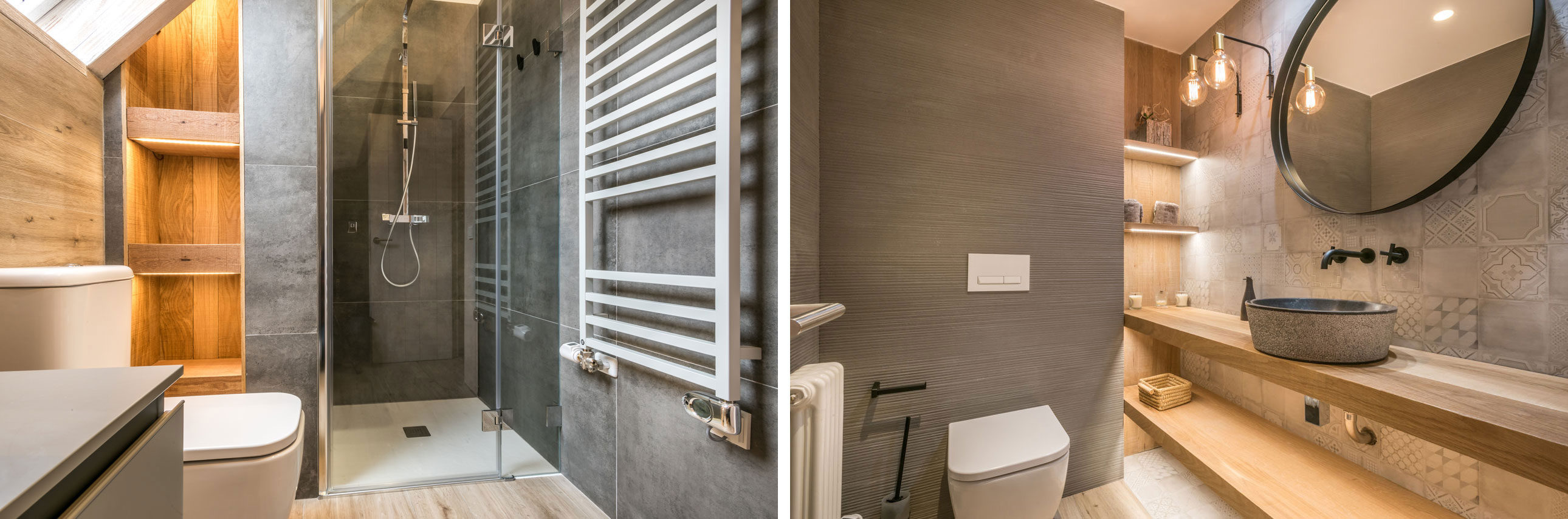 the guest bathroom near the entrance downstairs which blends wood and cotto-cement stoneware