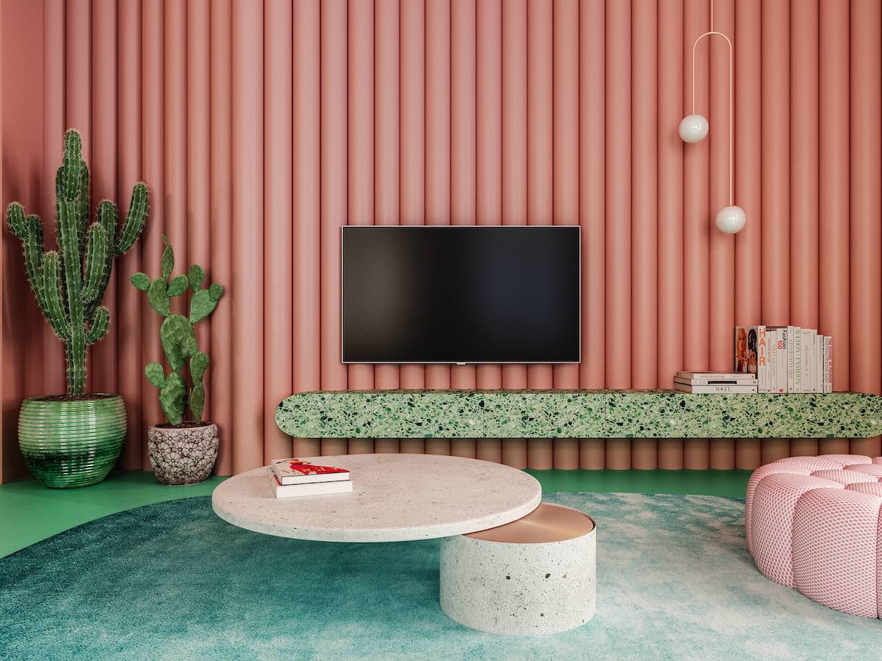 The furniture and the walls are in nuances of sugar pink, as well as the polyurethane tubes that have been painted especially
