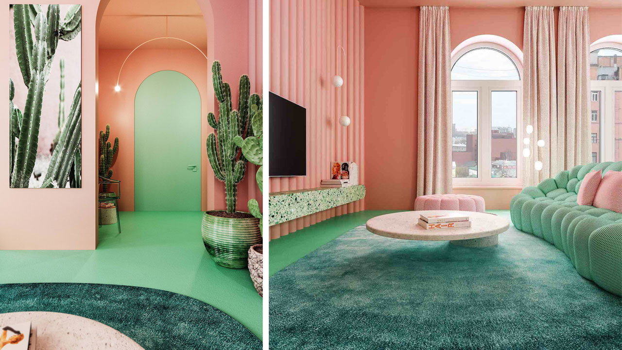 The colour green, from the shimmering shade of the large carpet to the mint-green of the concrete floor, contrasts and balances the pink on the walls.