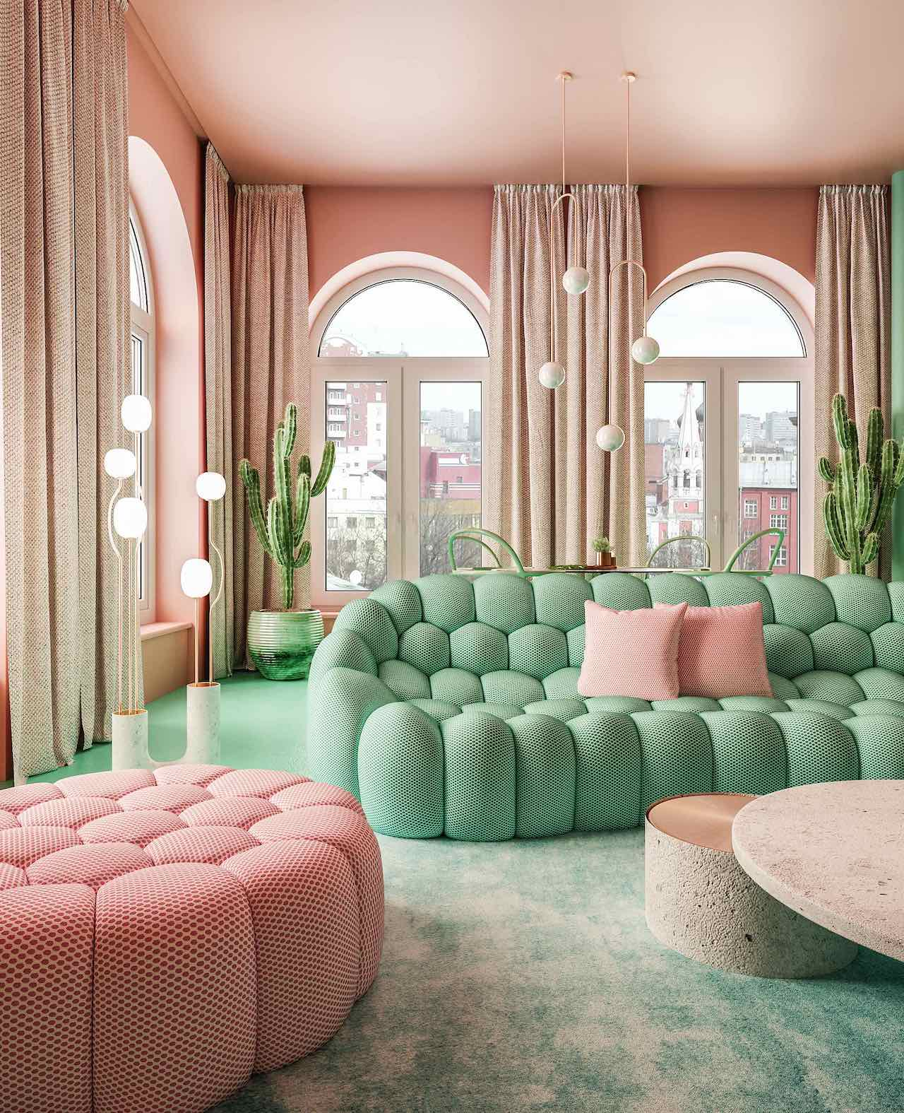 The Bubbles sofas are by Sacha Lakic for La Roche Bobois, the coffee tables in copper and concrete are by Dmitry Reutov and the lamps are by Michael Anastassiades Factory.