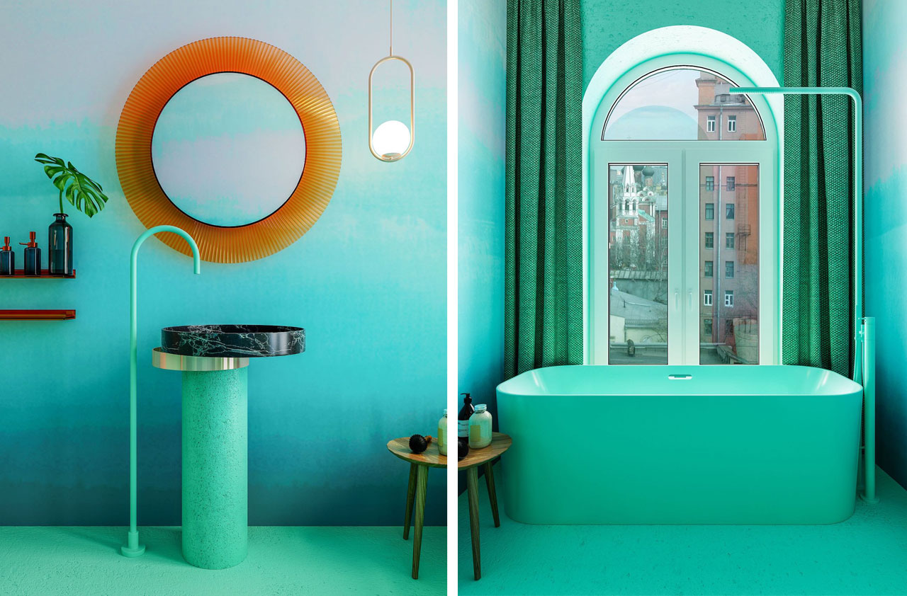 Eccentrico washbasin by Falper. The damp-proof wallpaper is by Calico Wallpaper. The lamps are by Michael Anastassiades Factory, the mirror is by Kartell.