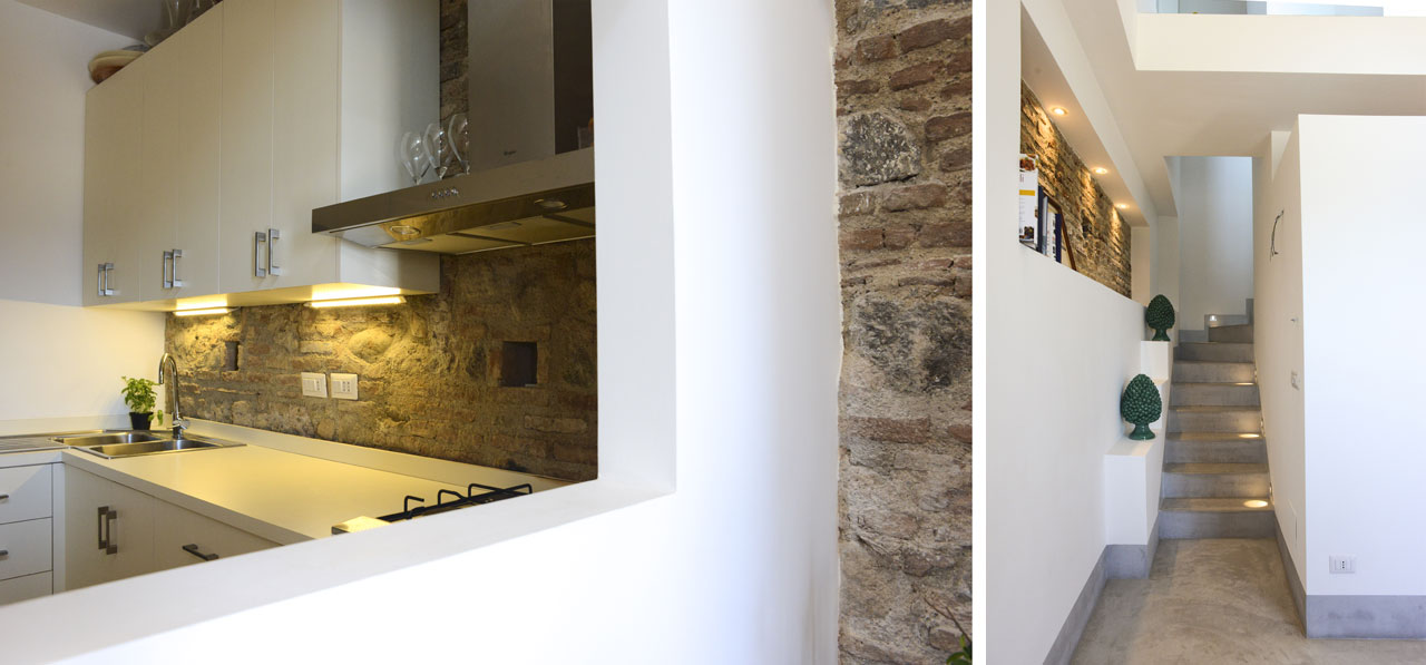 a juxtaposition of whitewashed walls and exposed stone, De Leo House, Messina