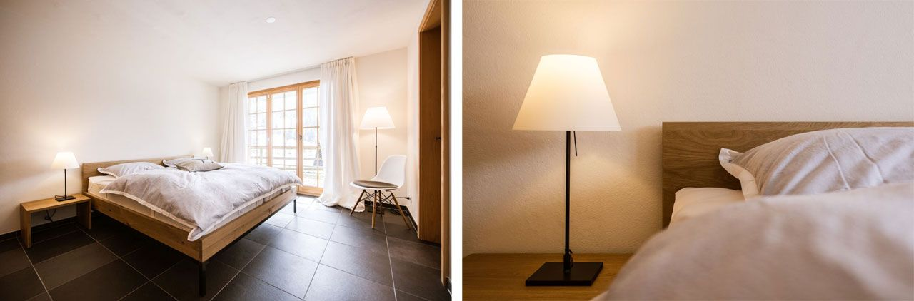 Lamps Costanza by Luceplan and beside table by Tossa