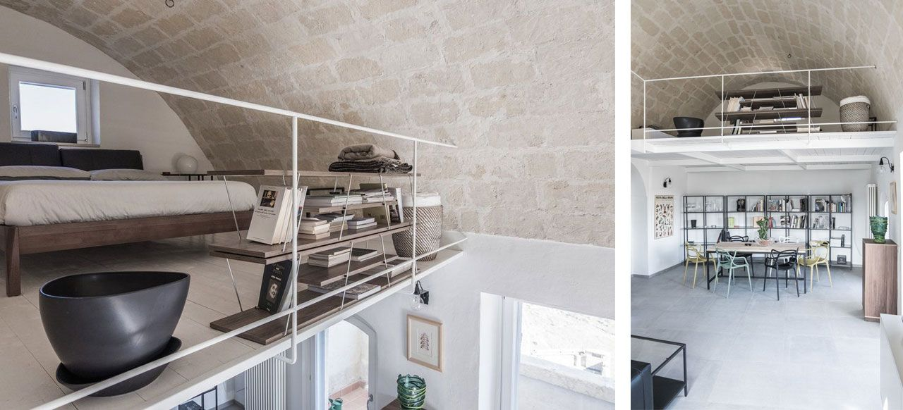 A tiny window at the back of the house brings light to the mezzanine floor.