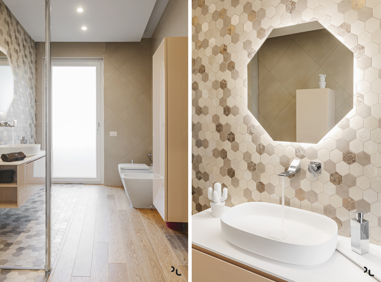 The bathroom tiles in several shades by Quartarella