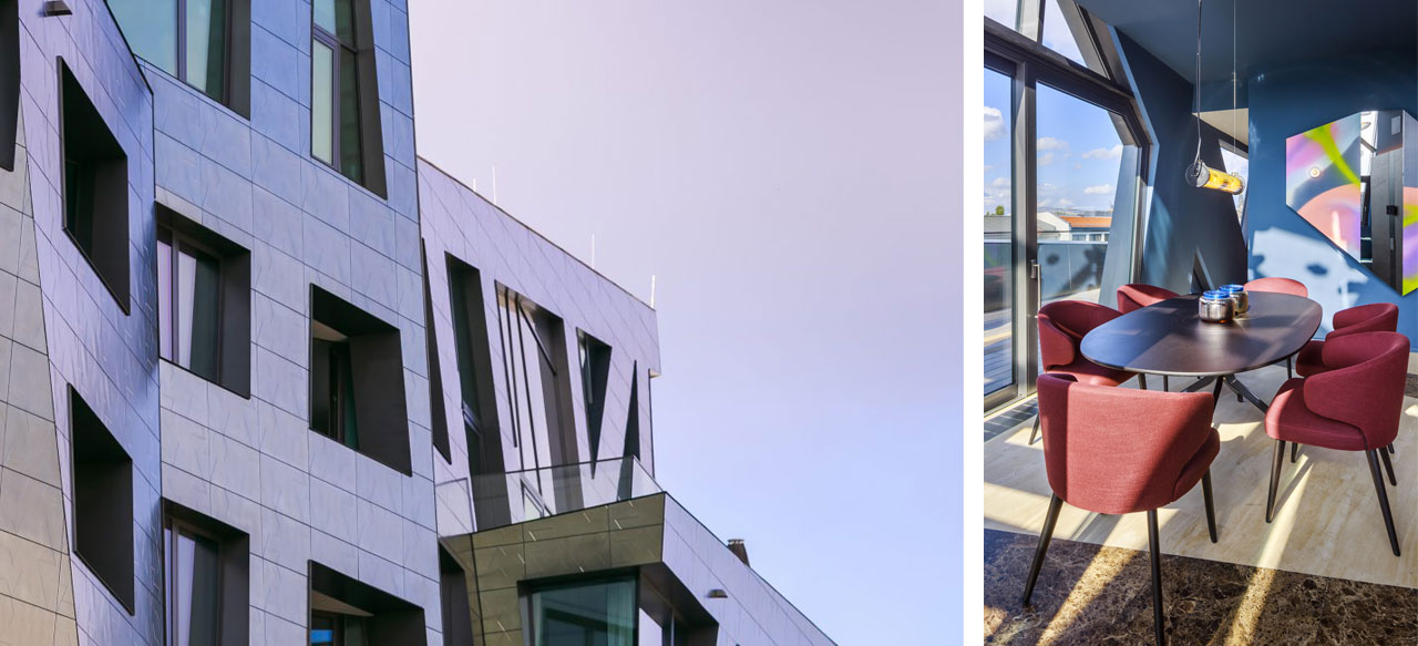A glimpse of the sculptural exterior of the Sapphire building cladded in Bios Self-Cleaning slabs by Casalgrande Padana.