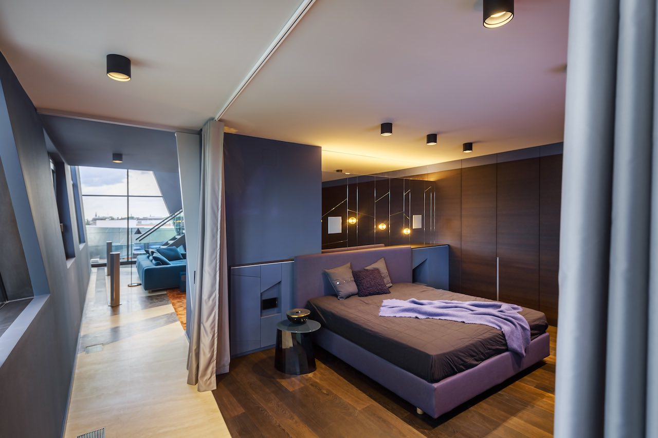 Simple sliding curtains separate the bedroom from the corridor. Sapphire, Berlin