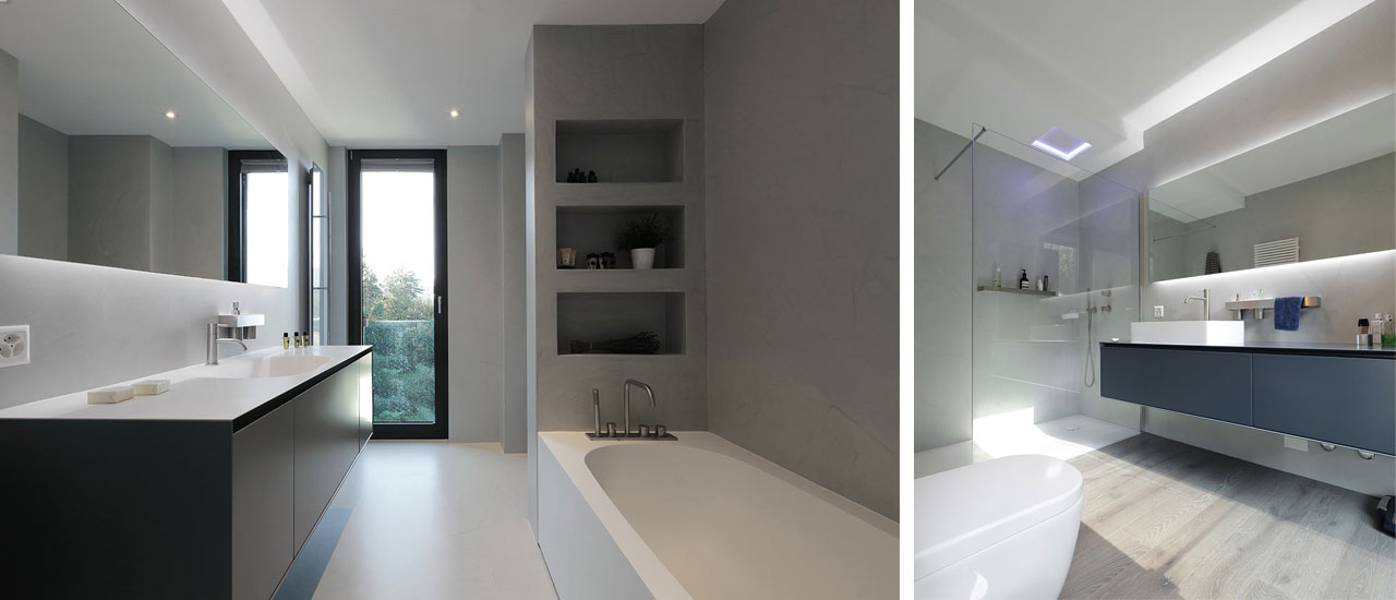 Bathrooms with a simple, clean aesthetic, decorated with cabinets and fixtures by Antonio Lupi.