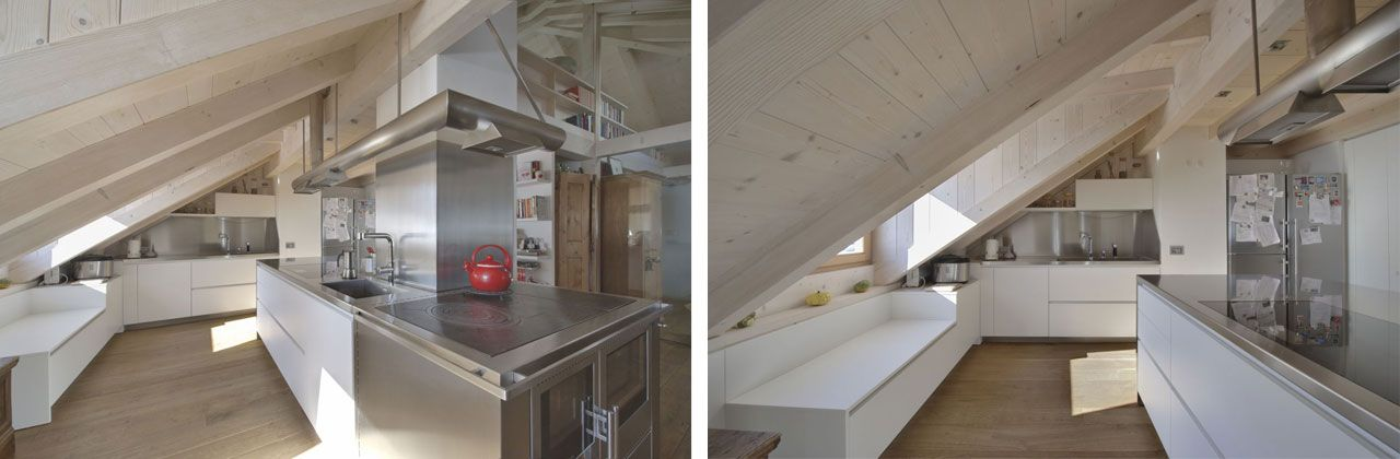 The Alea kitchen by Varenna Poliform is customized with precision to fit under the eaves.