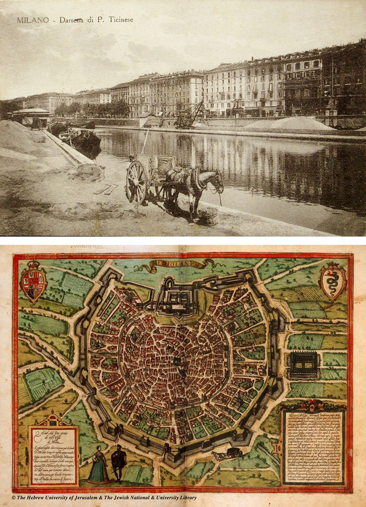 The map of Milan in the Middle Age and a photo of the Darsena