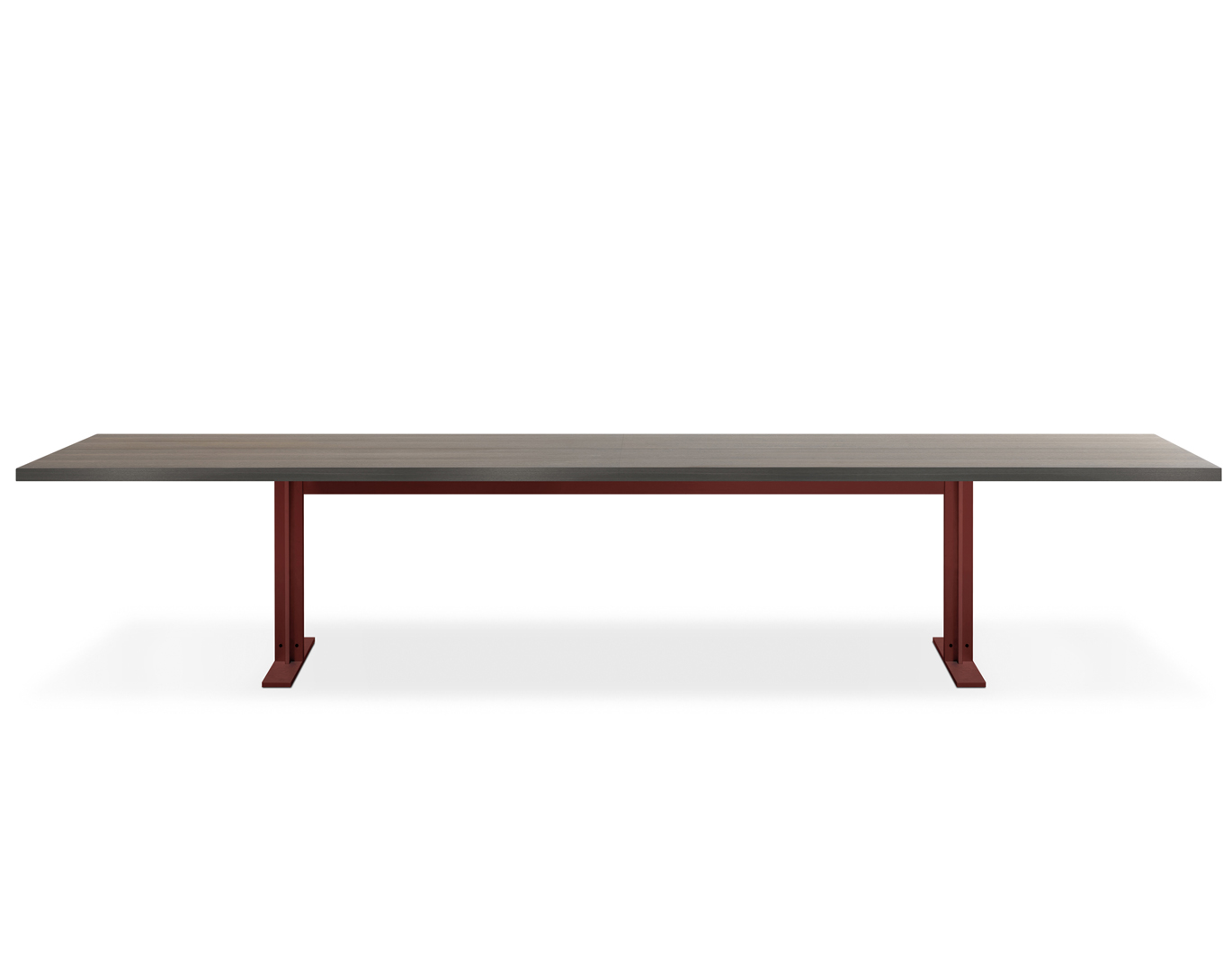 An oversize table with a minimalist aesthetic, suitable for a large number of guests. Metal frame and wooden table top.