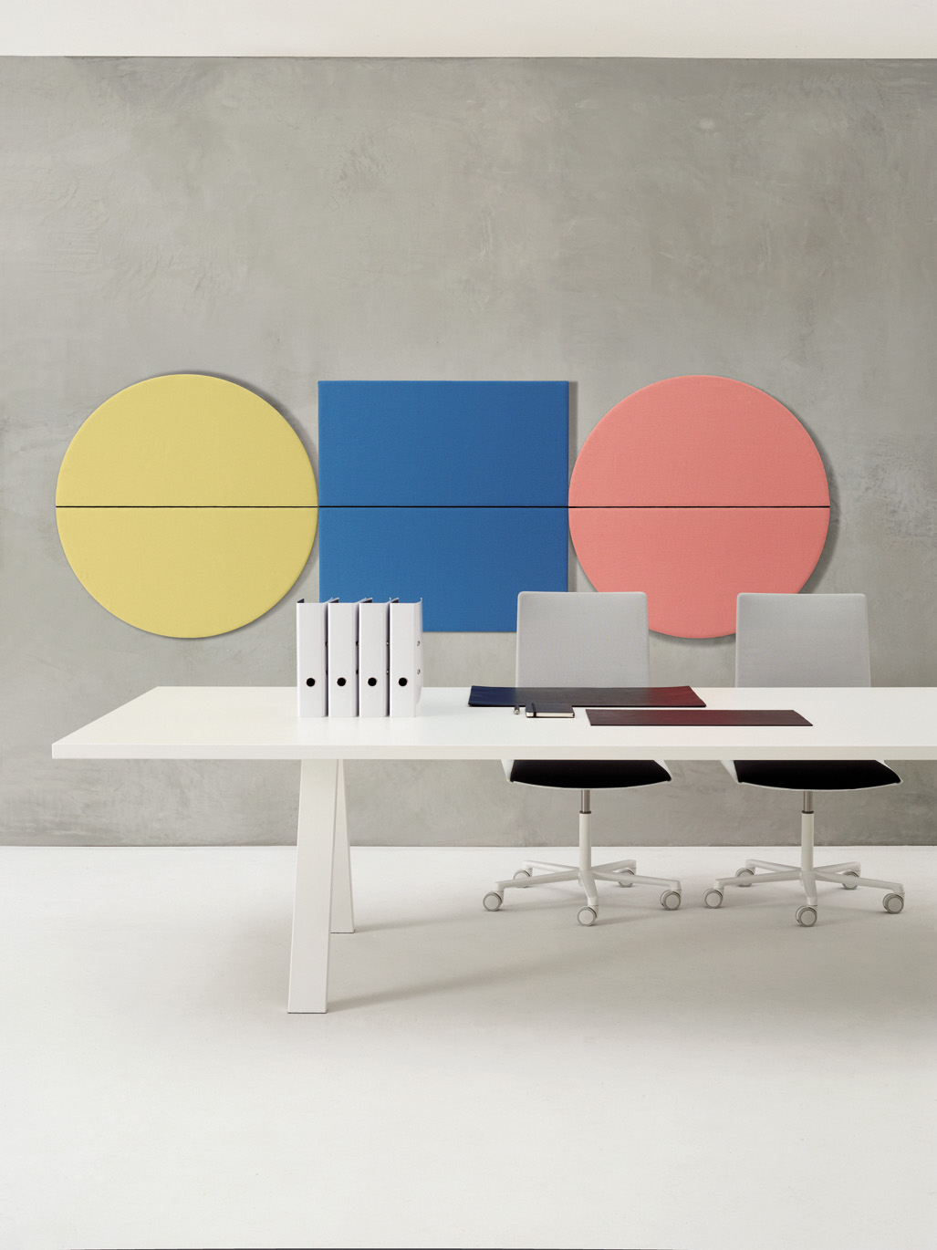 Parentesit is a line of acoustic panels in different geometric shapes, designed to add a bold touch to any corporate environment. Brightly coloured modular units have round, oval and square...
