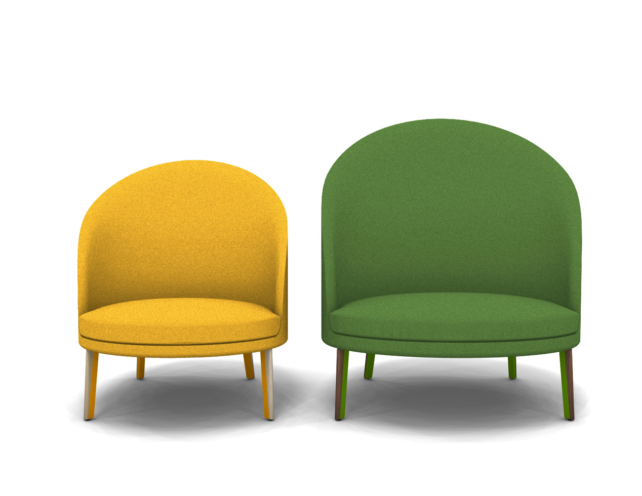 A pair of elegant armchairs with a distinctive backrests. This is Arflex's tribute to the 60s and the New vague movement. In fact, they are named after Truffaut's friends.