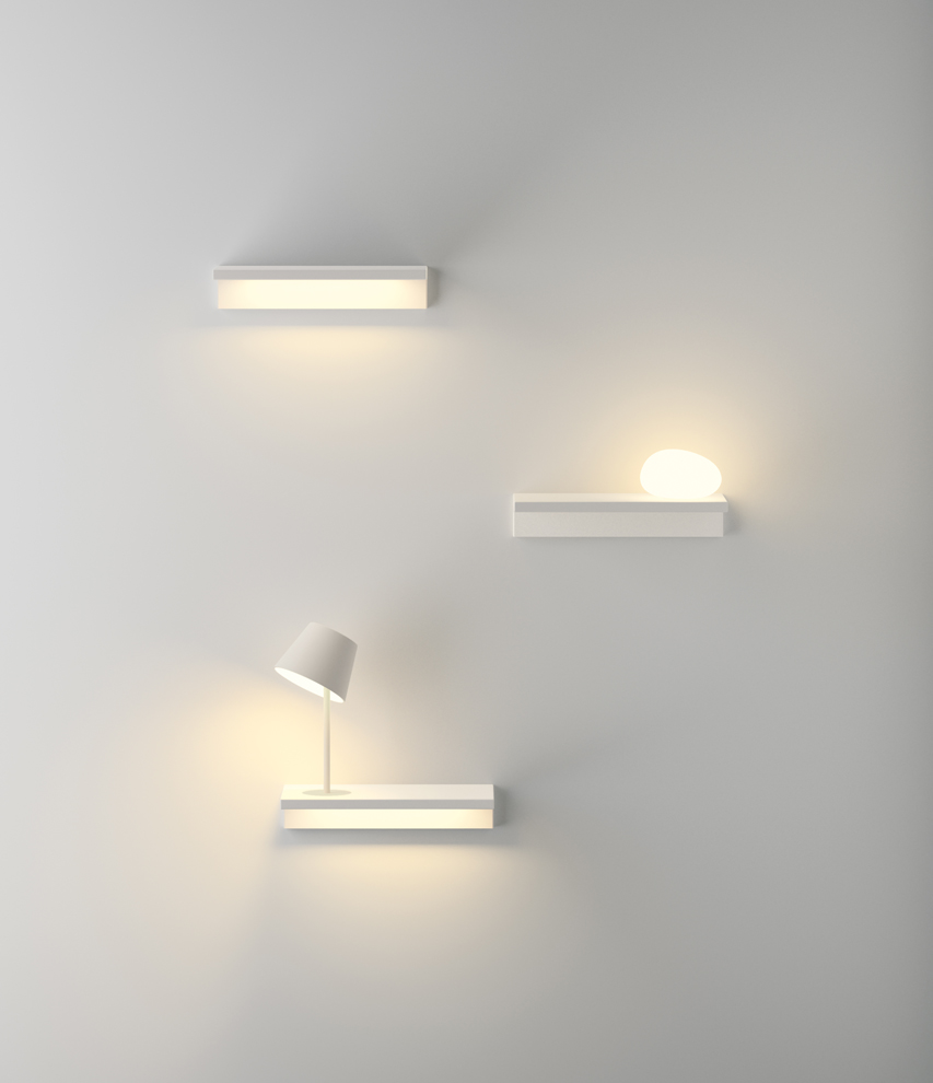 Suite is a family of wall-mounted lights; its design is a hybrid between both a shelf and a lamp. Suite includes floor lamps, wall-mounted lamps and bedside-table lamps, all bases can be...
